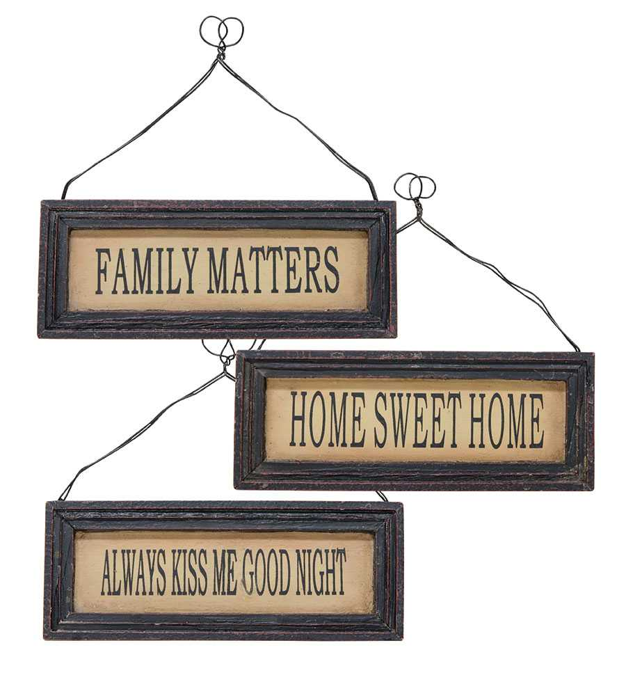 sale    black framed signs w  hangers - 3 asst