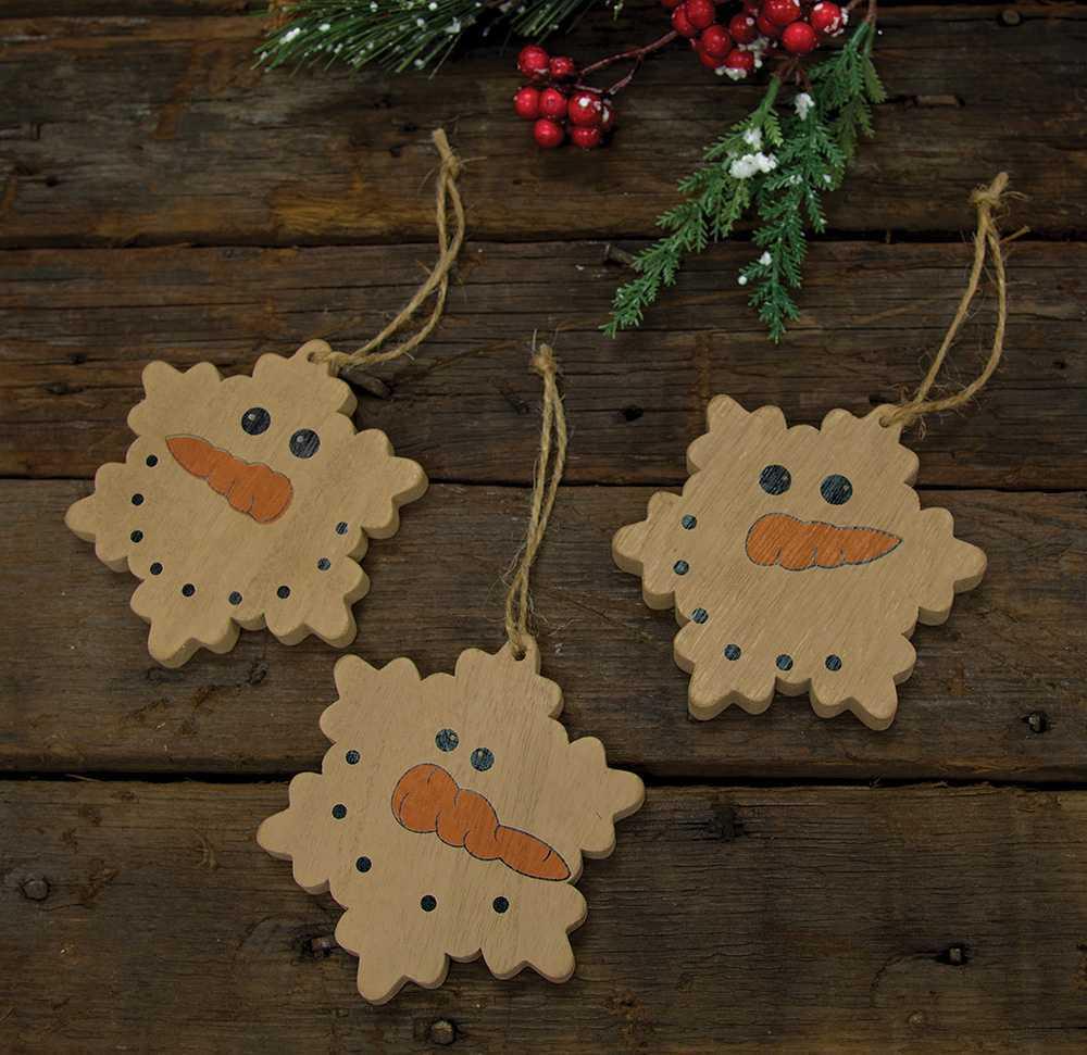 Snowman face ornament - Snowman Face Snowflake Ornaments 3 Asst