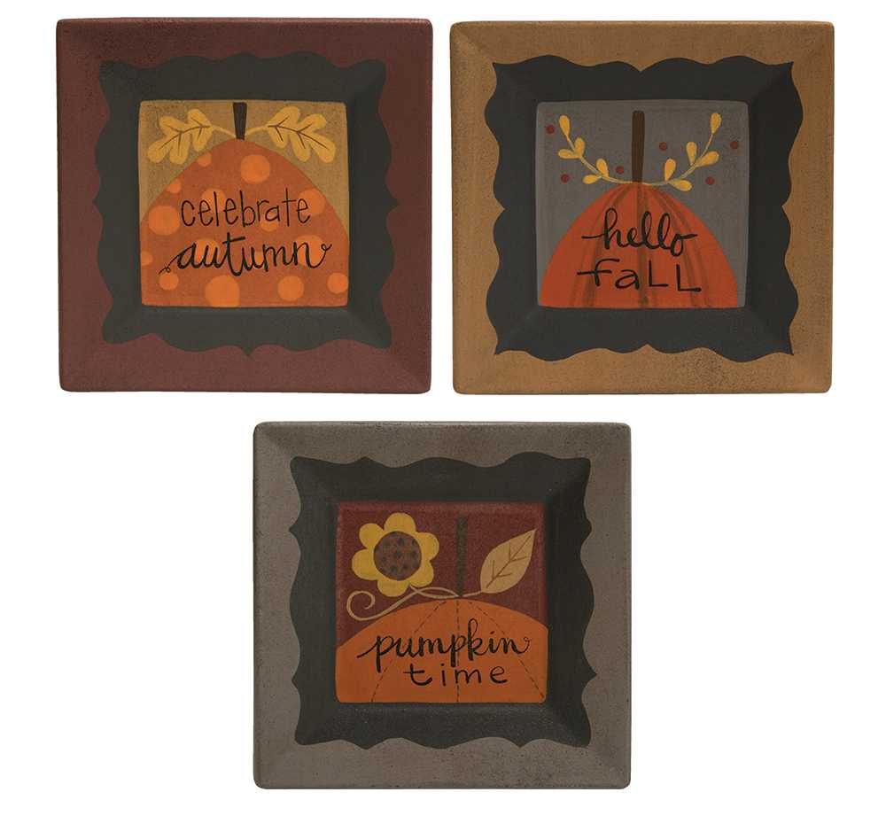 #34134 Celebrate Autumn Plate - 3 asst.  sc 1 st  The Hearthside Collection & Decorative Plates :: Celebrate Autumn Plate - 3 asst. - The ...