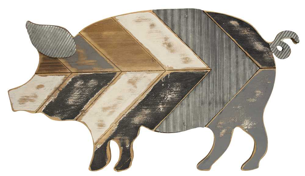 60225 Galvanized Metal And Wood Pig Wall Art
