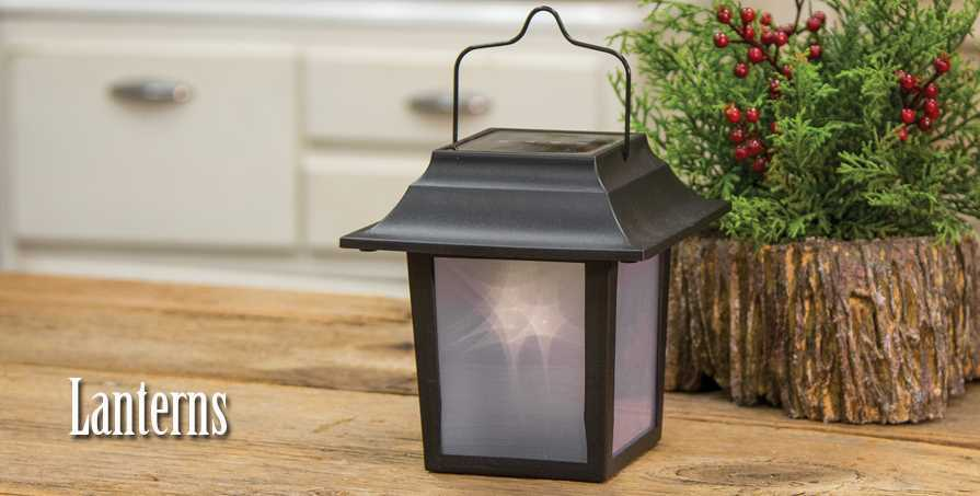 Battery-operated, timer, and candlelight lanterns in the country style.